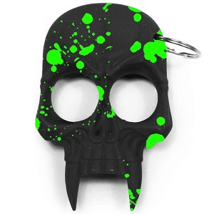 Demonic Skull Zombie Killer Self Defense Keychain Black With Green Splash