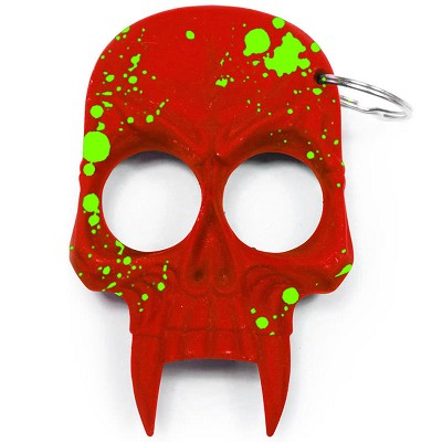 Demonic Skull Zombie Killer Self Defense Keychain Red With Green Splash