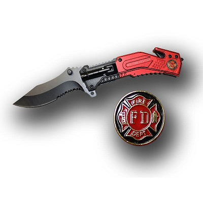 Fire Fighter Rescue Folder Spring Assist Knife With LED Light