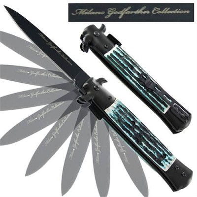 Milano Godfather Spring Assisted Stag Knife - Blue