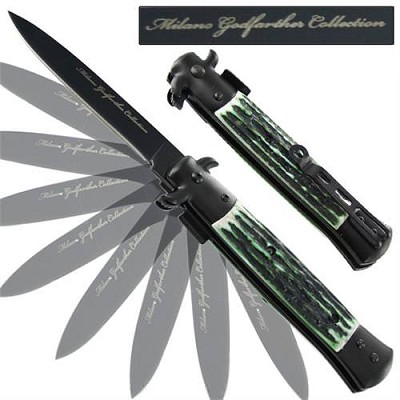 Milano Godfather Spring Assisted Stag Knife - Green
