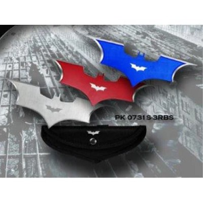 3 color Bat Thrower Set 3 pc. Batarang Throwing Knife With Case