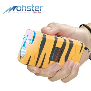 25 Million Volt Rechargeable Stun Gun W/ LED Light & Disable Pin Tiger Print