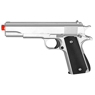 M1911 Replica Silver Finish Airsoft Spring Pistol Metal Heavy