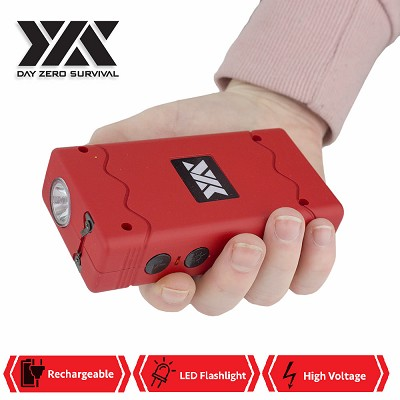 DZS Rechargeable Red Stun Gun with Safety Disable Pin LED Flashlight