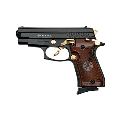 P29 Semi Automatic Blank Firing Pistol Black With Gold Fittings