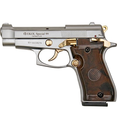 Special 99 V85 Blank Firing Gun Replica Nickel With Gold Fittings