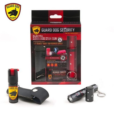 3 Million Volt Concealed Lipstick Stun Gun + Pepper Spray Gift Set Black