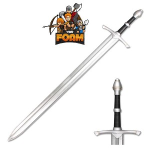 "43"" Medieval Foam Padded Sword with Metallic Chrome Finish on Blade"