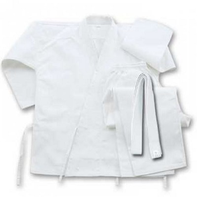 6 oz Cotton Karate Student Uniform White With Belt Size 9