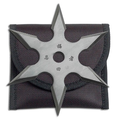 "6 Point Grey Titanium Coated Throwing Star with Pouch - 4"" Diameter"
