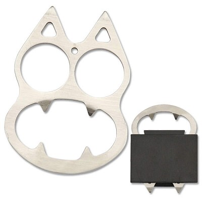 Silver Cat Knuckle Self Defense With Pouch