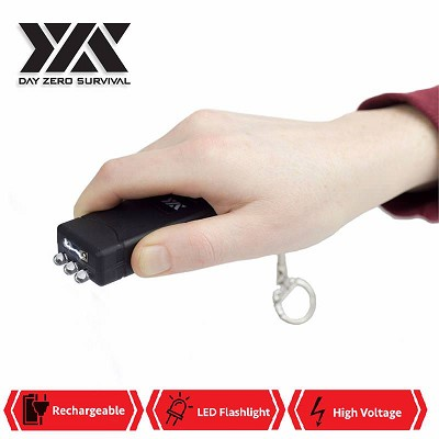 DZS Mini Keychain Stun Gun LED Flashlight 6 Million Volt Rechargeable