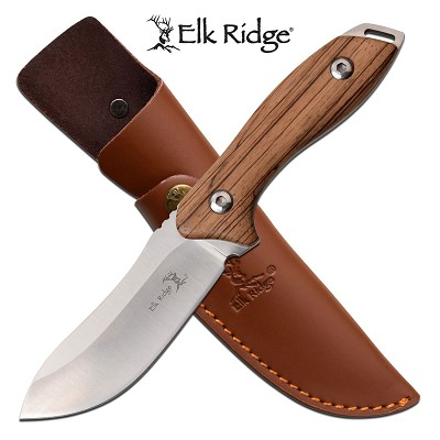 "Hunting Knife 4"" Blade Full Tang Zebra Wood Skinner + Leather Sheath"