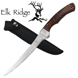 "Fillet Knife 12"" Fixed Blade Wood Handle Full Tang"