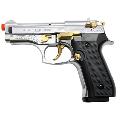Firat Compact V92F Gold Engraved With Gold Fittings - Front Firing Blank Gun