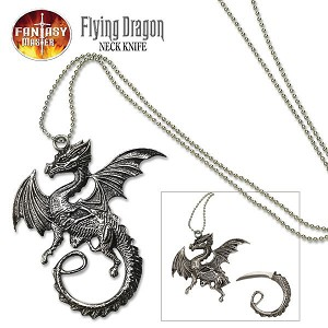 Fantasy Master Dragon Pendant Necklance Neck Knife With Chain