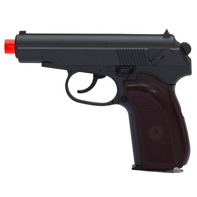 G29W Metal Spring Airsoft Pistol in Black & Wood. Shoots 245 FPS