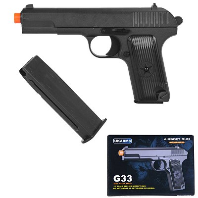 "G33 Full Metal Military Airsoft Spring Pistol Hand Gun 8"" Overall"