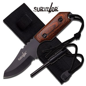 "7"" Hunting Survival KNIFE with Fire Starter & Sheath - Pakka Wood Handle"