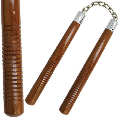 "12"" Brown Hardwood Nunchuck Set"