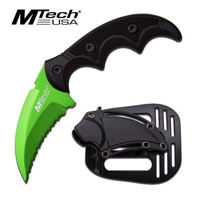 "5"" Hawk Blade Knife Tactical ABS Holster Green Full Tang Combat Karambit"