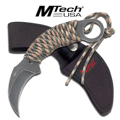 Paracord Wrapped Gray Stone Karambit Tactical Fixed Blade Knife