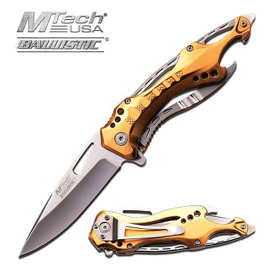 MTech USA Tactical Spring Assisted Knife 4.5 Inches With Gold Handle