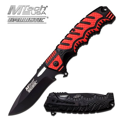 Mtech Red and Black Handle Spring Assist Knife With Bottle Opener