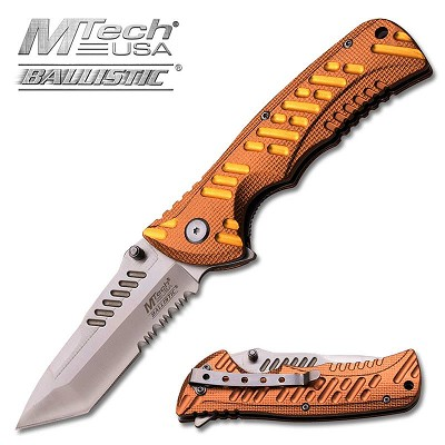 M-Tech Dash Copper/Gold Spring Assisted Knife - Tanto Satin Serrated Blade