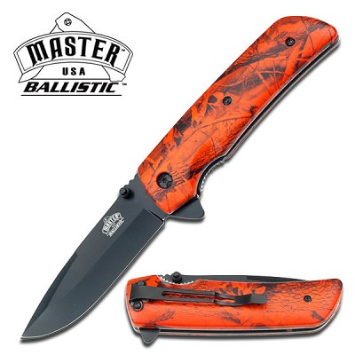 Orange Camo Handle Spring Assisted Knife