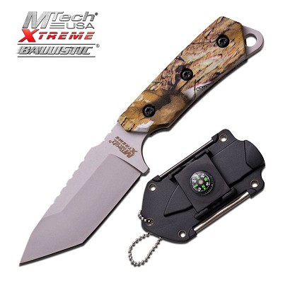 Mtech Fixed Blade Neck Knife Camo Tactical Survival Compass Firestarter