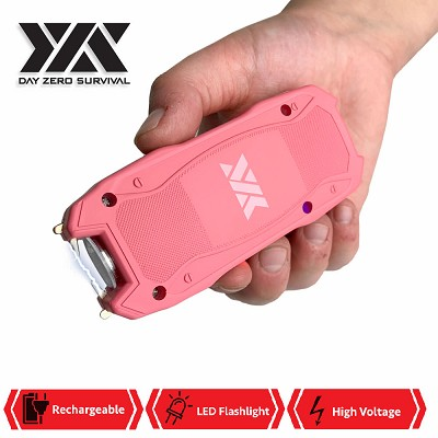 DZS Pink Rechargeable Self Defense Mini Stun Gun With LED FlashLight