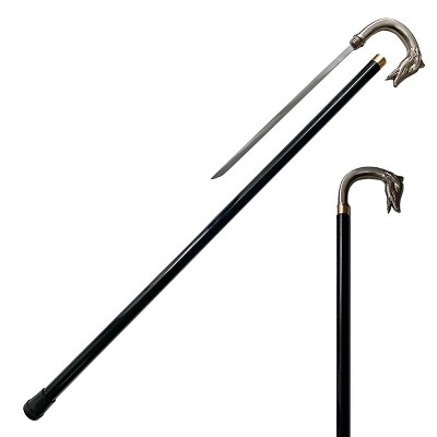 Gentleman Walking Cane Sword with Wolf Dog Head Handle