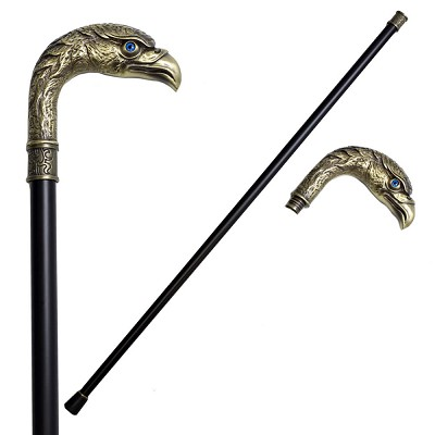 36.5 Inches Brass Finish Eagle Head Luxury Cane Staff