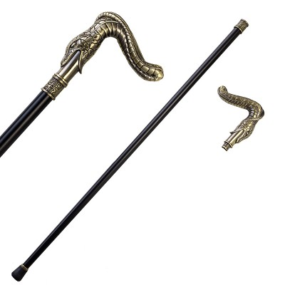 36.5 Inches Brass Finish Burst Snake Head Cane Staff