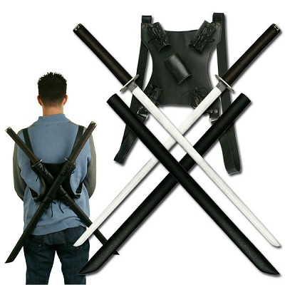 Twin Ninja Katana Sword Set With Back Strap