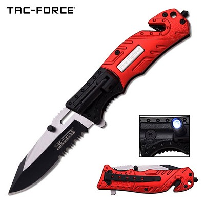 "Tac-Force 7.75"" Fire Fighter Spring Assisted Folding Knife With Flashlight"