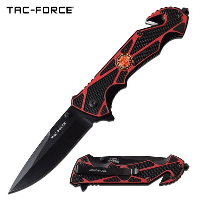 Red Firefighter Black Blade Rescue Spring-Assist Folding Knife