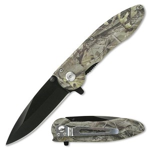 Linerlock Assisted Opening Folding Pocket Knife Camoflauge Gray