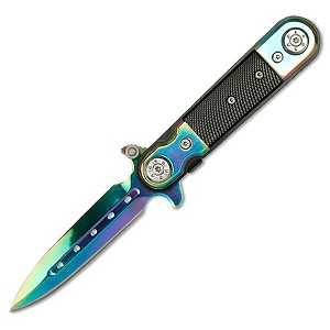 "4"" Closed Rainbow Tactical Stiletto Assisted Opening Knife G-10 Handle"