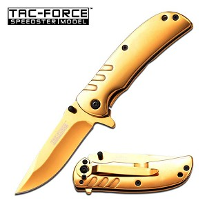 Spring Assisted Knife 3.5 Inch Closed Golden Ti-Coating Handle