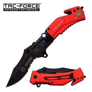 Fire Fighter Tactical Rescue Spring Assist Pocket Knife With LED Light