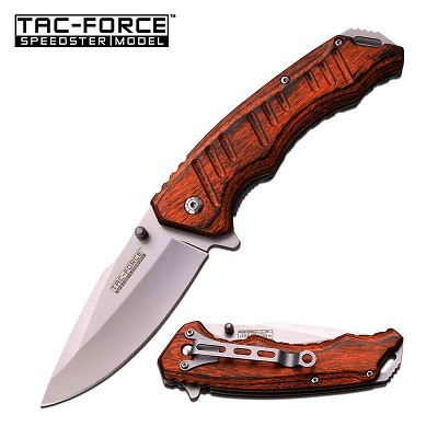 Tac-Force 4.75 Inch Closed Brown Pakkawood Handle Spring Assisted Opening Knife