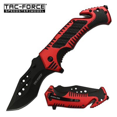 Glass Break Seat belt Cutter Tactical Blade EDC Red Spring Assist Knife