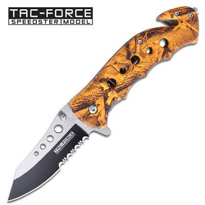Spring Assist - 'Legal Automatic' Knife - Orange Camo Handle