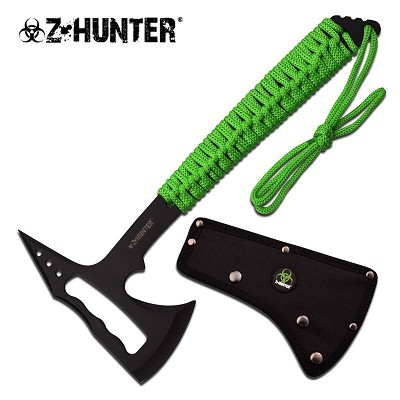 "13 3/4"" Tactical Axe Black Skeletonized Head Green Cord Wrapped Handle"