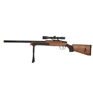 415 FPS Airsoft MK51 Bolt Action Sniper Rifle W/ Scope & Bi-Pod - WOOD