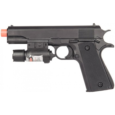 "P2003 Airsoft 8"" Spring Powered Pistol with Laser"